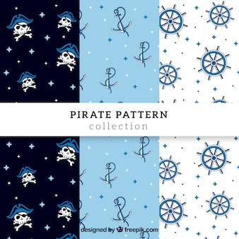 Set of pirate patterns with hand drawn elements