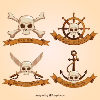 Set of pirate ribbons with skulls