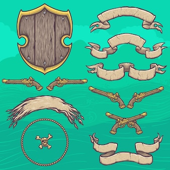 Set of pirate shield design elements