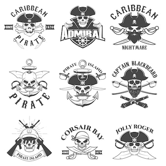 Set of pirates logo, labels, emblems and design elements. corsairs. pirate bay.