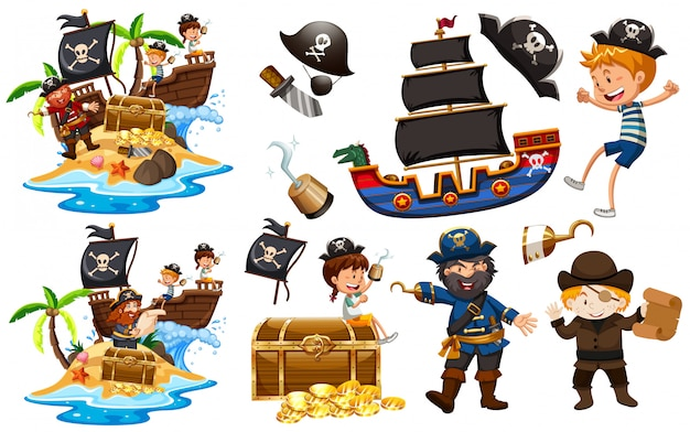 Set of pirates with ship and gold