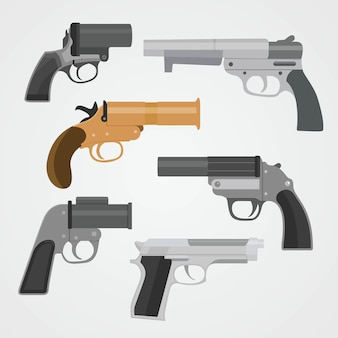 Set pistol weapon collections vector illustration