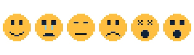 Set of pixel art emoticon vector