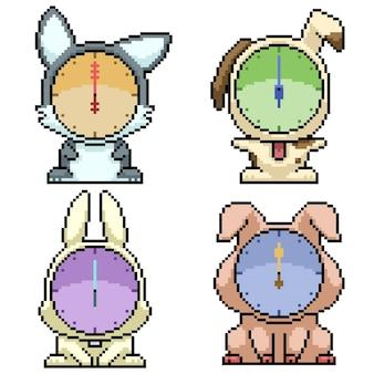 Set of pixel art isolated animal clock