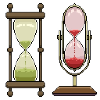 Set of pixel art isolated hourglass timer