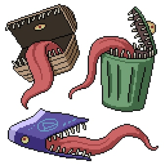 Set of pixel art isolated mimic monster