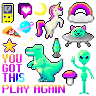 Set of  pixel art  objects isolated. game style  vaporwave