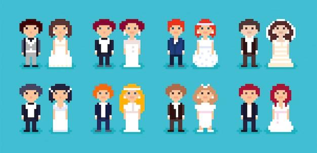 Set of pixel art wedding couples.