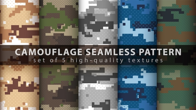 Set pixel camouflage military seamless pattern