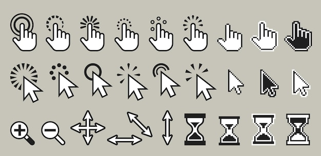 Set of pixel computer mouse cursor icons illustration