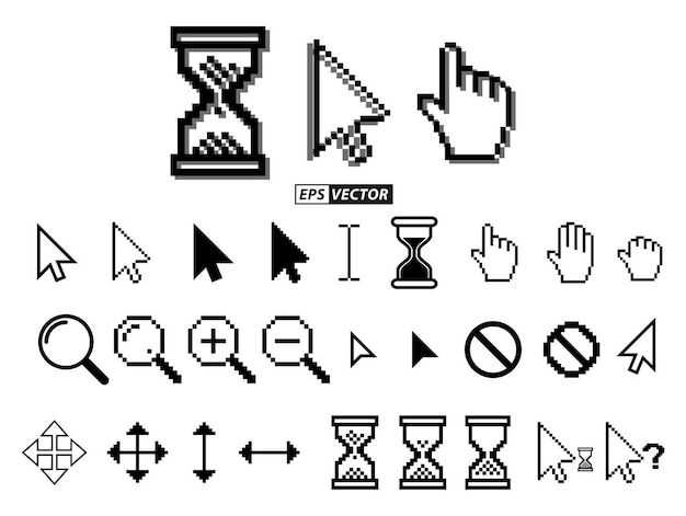 Set of pixel cursors or pixel hourglass or pixel mouse cursor concept eps vector