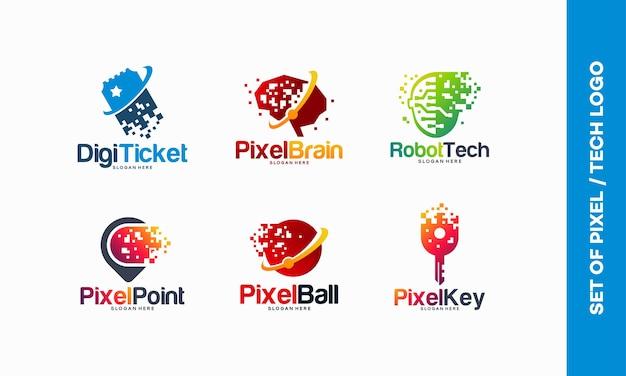 Set of pixel tech logo designs concept, digital ticket, pixel brain logo, robotic tech, pixel point, fast tech ball, pixel key logo template