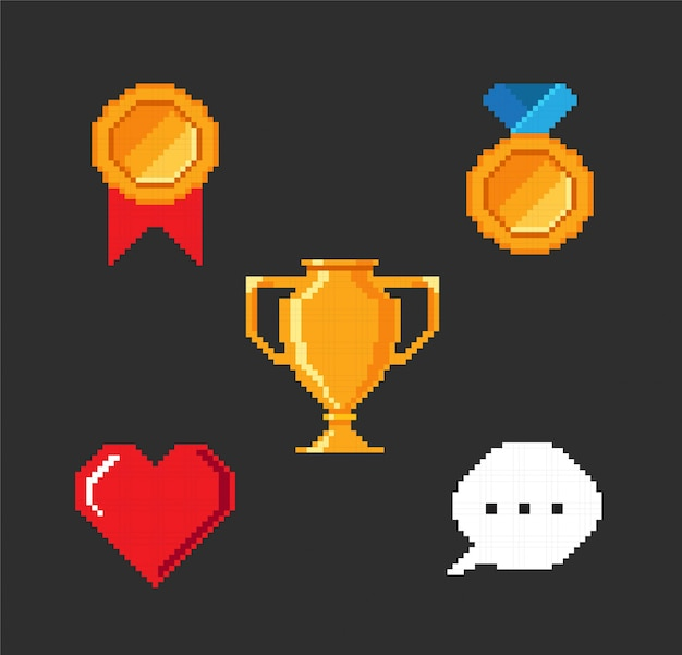Set of pixel video game objects.
