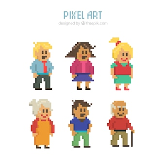 Set of pixelated characters