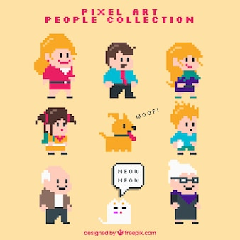 Set of pixelated family with pets