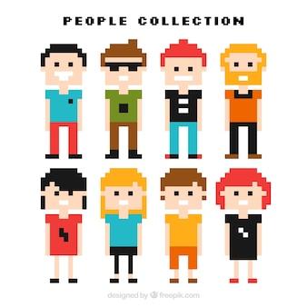 Set of pixelated funny people