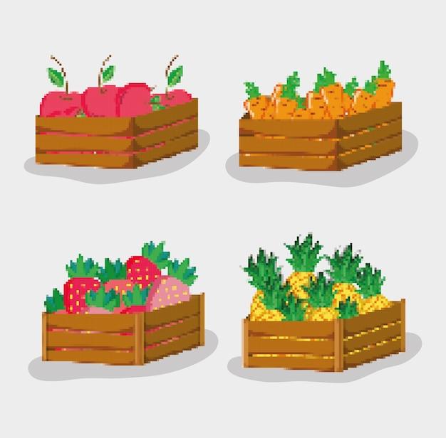 Set of pixelated natural food