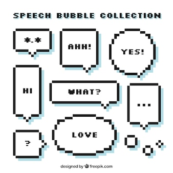 Set of pixelated speech bubbles with messages