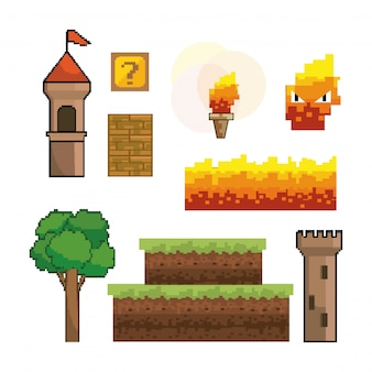Set of pixelated videogame graphic