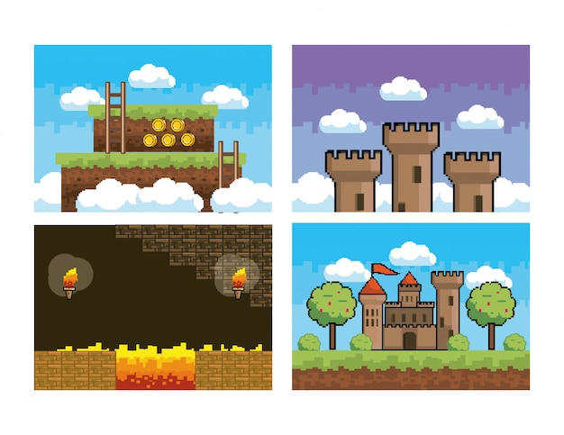 Set of pixelated videogame scene and graphic