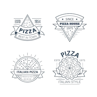Set of pizza badge design isolated on white background