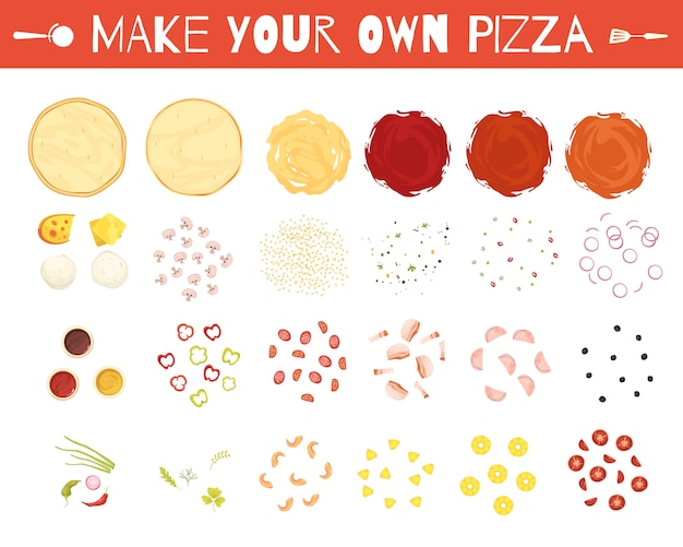 Set of pizza elements
