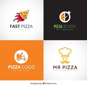 Set of pizza logos