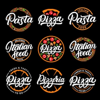 Set of pizza, pasta, pizzeria and italian food hand written lettering logos