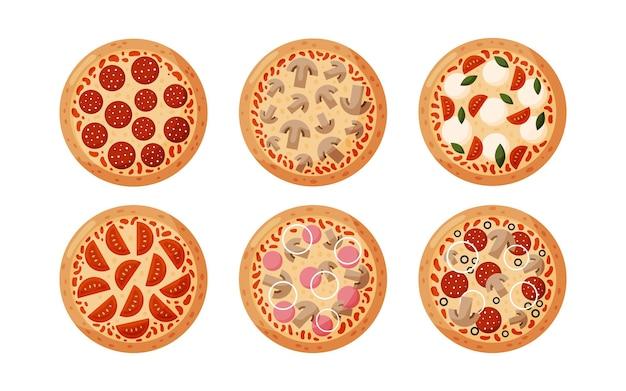 페퍼로니, 토마토, 양파, 올리브, 버섯, 햄으로 피자를 설정하십시오. 흰색 배경에 izolated. 이탈리아 패스트 푸드.