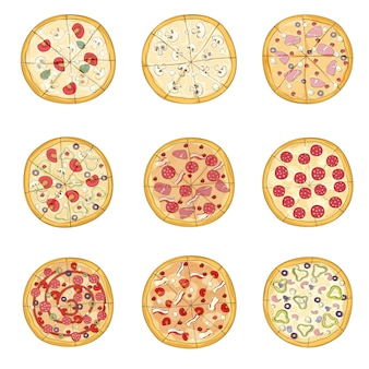 Set of pizzas with various fillings.  illustration.