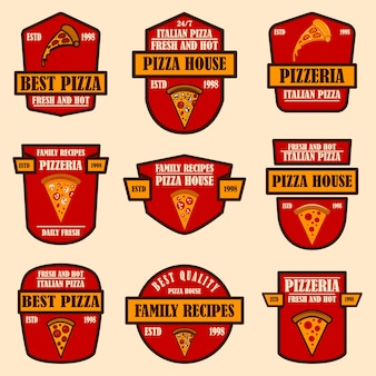 Set of pizzeria emblems. design element for logo, label, sign, poster., flyer. vector illustration