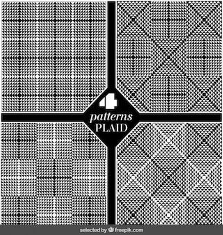 Set of plaid black patterns