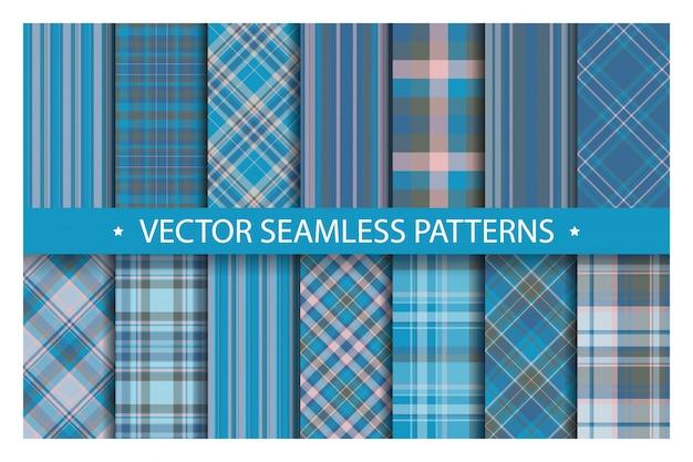 Set plaid pattern seamless, tartan patterns fabric texture background, scottish stripe blanket