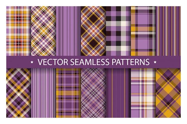 Set plaid pattern seamless. tartan patterns fabric texture. checkered geometric  background. scottish stripe blanket backdrop