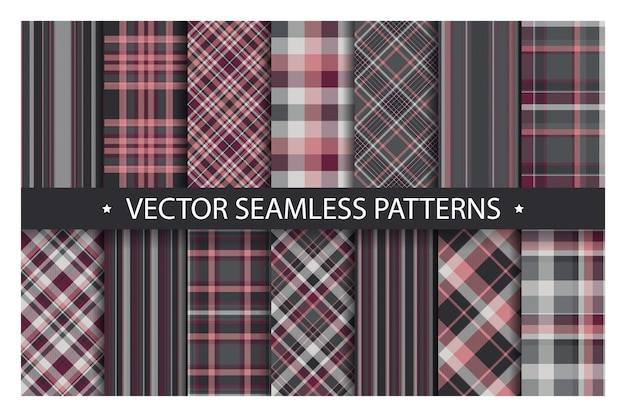 Set plaid pattern seamless. tartan patterns fabric texture. checkered geometric  background. scottish stripe blanket backdrop