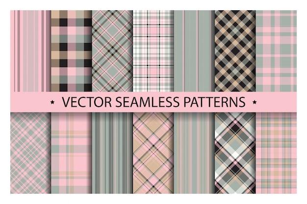 Установите плед узор бесшовные. тартан узоры ткани текстуры. клетчатый геометрический фон. шотландская полоса одеяло фон