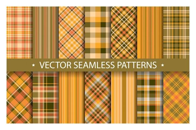 Set plaid pattern seamless. tartan patterns fabric texture. checkered geometric  pattern.