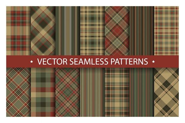 격자 무늬 패턴을 원활 하 게 설정합니다. 타탄 패턴 패브릭 질감입니다. 체크 무늬 기하학적 패턴입니다.