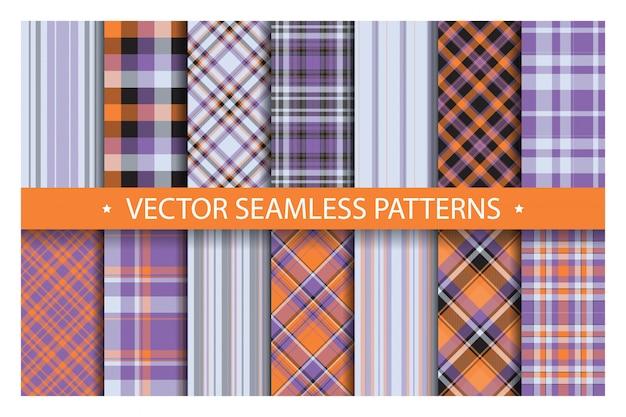 格子縞のパターンをシームレスに設定します。タータンパターンの生地のテクスチャ。市松模様の幾何学的なベクトルの背景。スコットランドのストライプブランケット背景