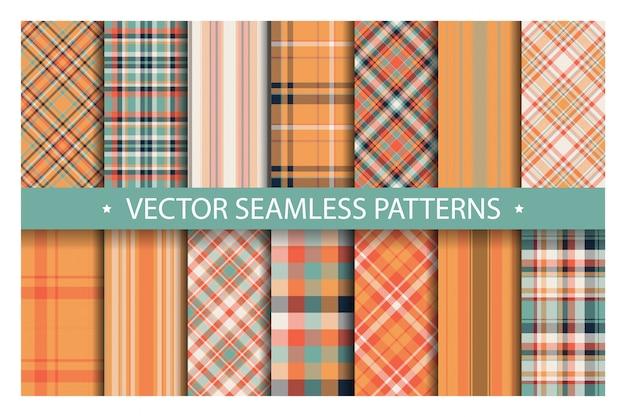 격자 무늬 원활한 패턴을 설정합니다. 타탄 패턴 패브릭 질감입니다.