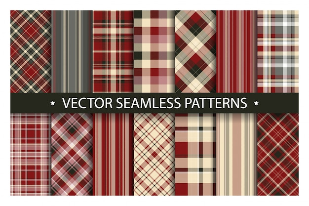 Set plaid seamless pattern. tartan patterns fabric texture.