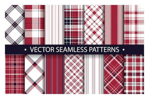 Set of plaid seamless patterns