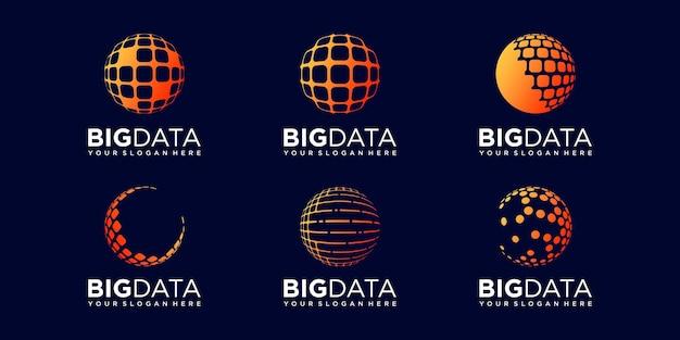 Set of planet digital logo design vector template.