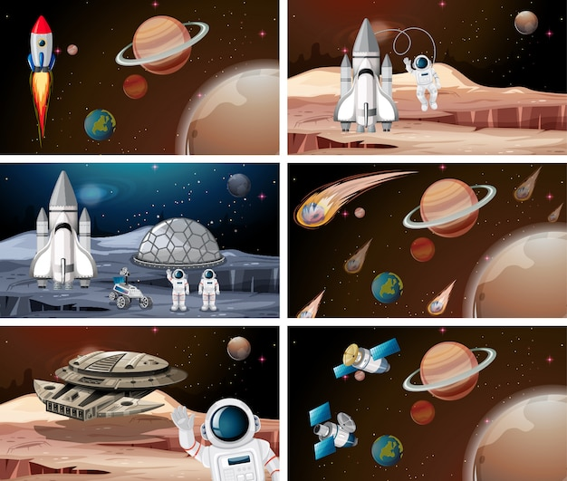 Set of planet space scenes background set