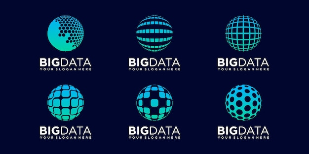 Set of planet technology logo design vector template.