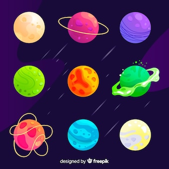 Set of planets flat style