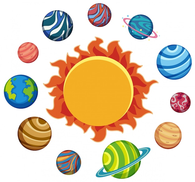 Set of planets and sun