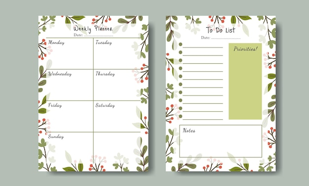 Set of planner to do list with hand drawn leaf background template printable