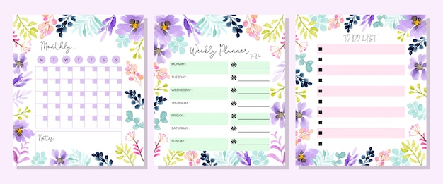 Set planner with floral watercolor