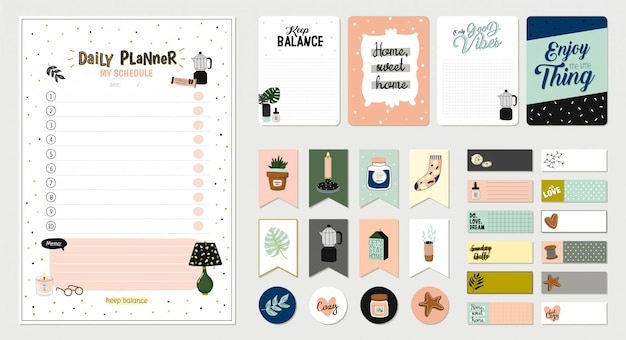Set of planners and to fo lists with simple scandinavian illustrations and trendy lettering. template for agenda, planners, check lists, and other stationery. . . white background